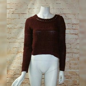 Moth S Burgundy Chunky Cropped Sweater Wool Blend